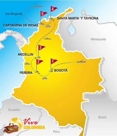 Viajes a Colombia | Mapa Destinos Estrella 2017