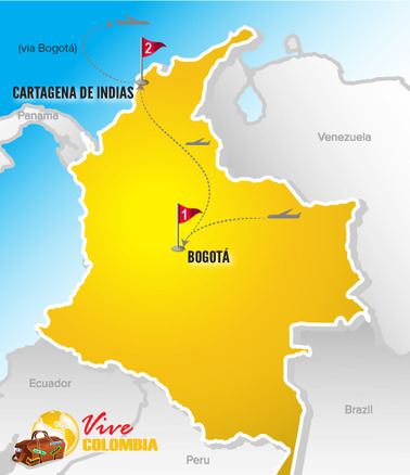Viajes a Colombia | Mapa Bogota & Cartagena