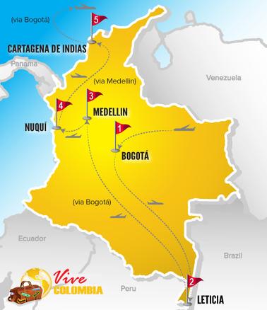 Viajes a Colombia | Mapa Naturaleza Pacifico y Amazonas