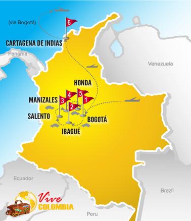 Viajes a Colombia | Mapa Eje cafetero con coche 2017